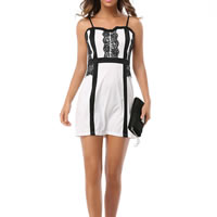 Spandex   Polyester Sexy One-piece Dress backless off shoulder with Lace patchwork white