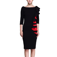Polyester & Cotton Plus Size Autumn and Winter Dress, different size for choice & knee-length, patchwork, black, Sold By PC
