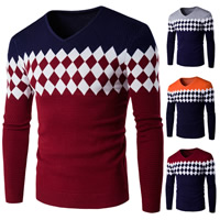 Cotton Men Sweater, different size for choice, knitted, geometric, more colors for choice, Sold By PC