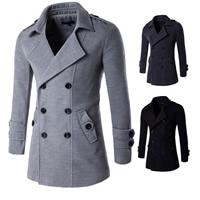 Polyester   Cotton Men Trench Coat regular Solid