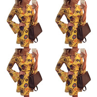 Spandex & Polyester A-line Autumn and Winter Dress, different size for choice & hollow, printed, floral, yellow, Sold By PC