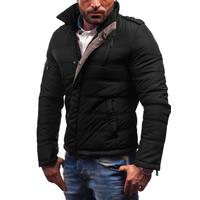 Polyester Plus Size Men Parkas regular   thermal patchwork black