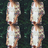 Chiffon Swimming Cover Ups printed geometric white Sold By PC