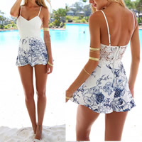Polyester Women Romper backless patchwork white Sold By PC