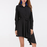Chiffon Asymmetrical Autumn and Winter Dress, different size for choice, Solid, black, Sold By PC
