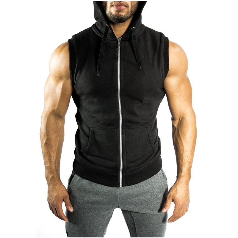 Cotton Men Sleeveless T-shirt, different size for choice, printed, letter, black, Sold By PC