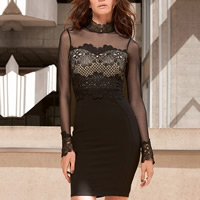 Spandex   Polyester Sexy Package Hip Dresses hollow   transparent with Gauze patchwork black Sold By PC