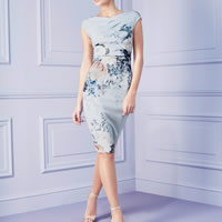 Spandex & Polyester One-piece Dress knee-length printed floral Sold By PC