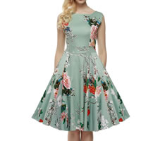 Polyester Princess One-piece Dress, different size for choice, printed, floral, green, Sold By PC
