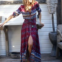 Polyester Beach Dress ankle-length printed geometric wine red Sold By PC