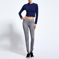 Polyester Women Quick Dry Clothes Set, different size for choice, Pants & top, Solid, grey and blue, Sold By Set