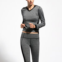 Polyester Women Quick Dry Clothes Set, different size for choice, Pants & top, patchwork, grey and black, Sold By Set