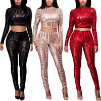 Nylon Crop Top Nightclub Set transparent with Sequin Pants & top Sold By Set