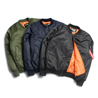 Polyester & Cotton Men Baseball Jacket, different size for choice & regular, Solid, more colors for choice, Sold By PC
