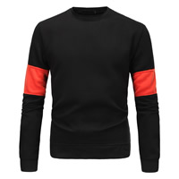 Cotton Men Sweatshirts, different size for choice, patchwork, black, Sold By PC