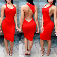 Polyester Sexy Package Hip Dresses backless off shoulder Solid