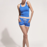 Polyester Women Quick Dry Clothes Set, different size for choice, tank top & Pants, patchwork, blue, Sold By Set