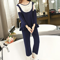 Cotton Maternity Sleepwear, different size for choice, with Lace, top & bottom, patchwork, deep blue, Sold By Set