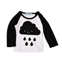 Polyester & Cotton Unisex Children Clothing, different size for choice, printed, white and black, Sold By PC
