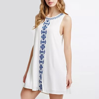 Polyester One-piece Dress, different size for choice, embroidered, geometric, more colors for choice, Sold By PC