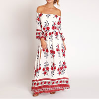 Polyester One-piece Dress, backless & different size for choice & off shoulder & ankle-length, printed, floral, white, Sold By PC
