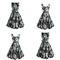 Cotton One-piece Dress printed floral green Sold By PC