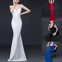 Polyester & Cotton Mermaid Long Evening Dress, backless & different size for choice & floor-length & padded & with beading, patchwork, more colors for choice, Sold By PC