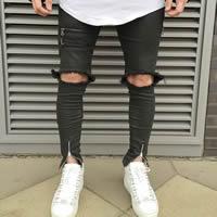 Denim Men Jeans frayed Solid black
