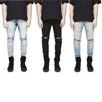 Denim Men Jeans frayed Solid