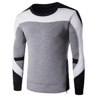 Polyester Men Sweatshirts, different size for choice, patchwork, grey and black, Sold By PC