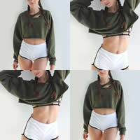 Cotton Crop Top Women Sweatshirts hollow frayed Solid Sold By PC