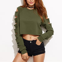 Polyester Crop Top Long Sleeve Nightclub Top hollow Solid army green Sold By PC