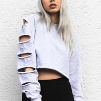 Cotton Crop Top Long Sleeve Nightclub Top hollow Solid Sold By PC