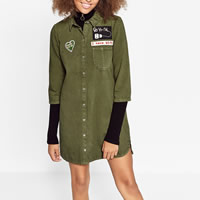 Cotton One-piece Dress patchwork army green Sold By PC