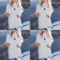 Cotton Women Long Sleeve T-shirt, different size for choice, printed, striped, white, Sold By PC