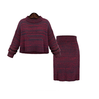 Cotton Women Casual Set sweater   skirt Solid Size:Free Size
