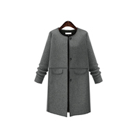 Polyester Plus Size Women Coat Solid grey Sold By PC