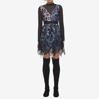 Polyester Autumn and Winter Dress, different size for choice & transparent, with Lace, patchwork, black and blue, Sold By PC