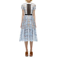 Polyester One-piece Dress hollow   mid-calf with Lace patchwork light blue Sold By PC