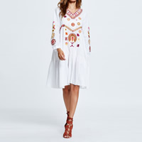 Polyester Autumn and Winter Dress, knee-length, embroidered, floral, more colors for choice, Size:Free Size, Sold By PC