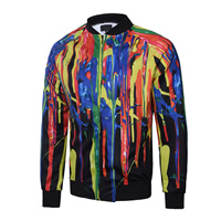 Polyester & Cotton Men Jacket, different size for choice, printed, geometric, multi-colored, Sold By PC