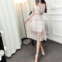 Polyester Autumn and Winter Dress, transparent, with Lace, patchwork, more colors for choice, Size:Free Size, Sold By PC