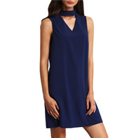 Polyester One-piece Dress, different size for choice & hollow, Solid, deep blue, Sold By PC