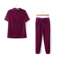 Velvet Women Casual Set, different size for choice, Pants & top, Solid, fuchsia, Sold By Set
