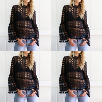 Lace Long Sleeve Nightclub Top, different size for choice & hollow, Solid, more colors for choice, Sold By PC