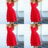 Mixed Fabric & Cotton One-piece Dress, backless & different size for choice, Solid, red, Sold By PC