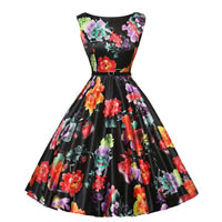 Polyester & Cotton Princess One-piece Dress, different size for choice & with belt, printed, floral, black, Sold By PC