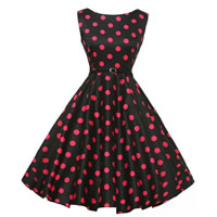 Polyester & Cotton Princess One-piece Dress with belt printed dot black Sold By PC