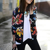 Polyester Women Coat printed floral black Sold By PC