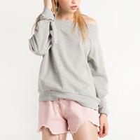 Polyester Women Sweatshirts off shoulder   loose Solid light grey